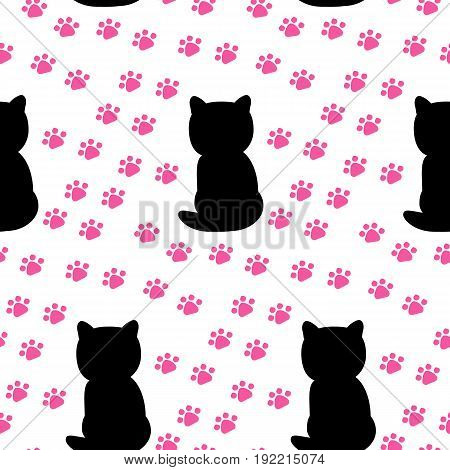 Paw print. Isolated on flat background. Vector flat background with black cat and paw.