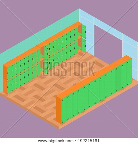 Isometric school lockers wardrobes in school hall. All objects are isolated and in vector