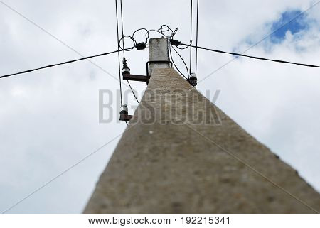 Electric pole, photo taken from the top down