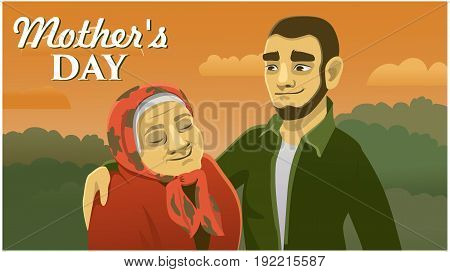 greeting card mother's day. man and woman on nature background. vector illustration