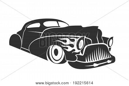 Old custom car silhouette hot rod low rider coupe isolated vector illustration