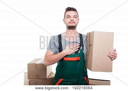 Mover Guy Holding Cardboard Box Making Oath Gesture