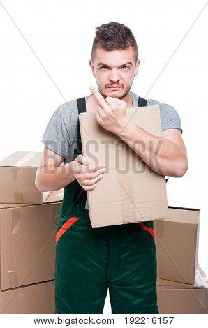 Mad Mover Guy Holding Cardboard Showing Obscene Gesture