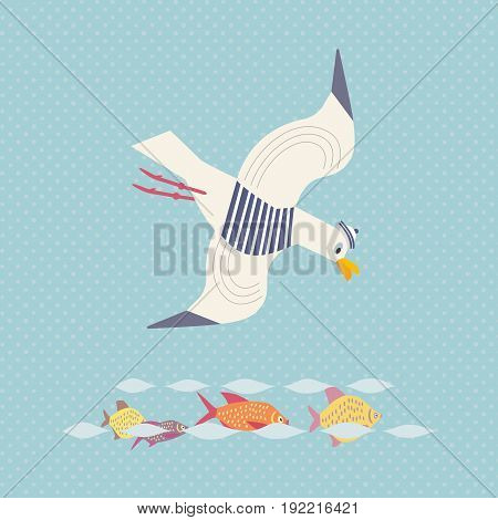 Sea gull icon. Freehand cartoon style. Flying cute gull bird logo. Seabird marine symbol isolated. Stylized nautical animal emblem. Element project banner background. Vector design advertisement label