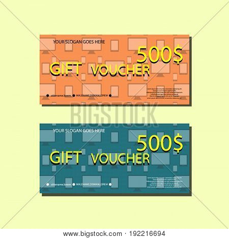 Gift Voucher Template With colorful bacground and devices For your Designt. Vector Illustration