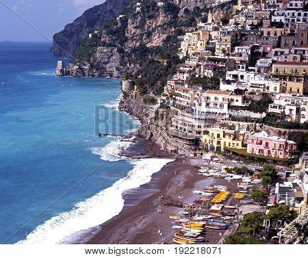 POSITANO, ITALY - SEPTEMBER 22, 1996 - Elevated view of the town and beach Positano Amalfi Coast Italy Europe, September 22, 1996.