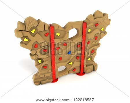 Children's Wall For Climbers 3D Render On A White Background