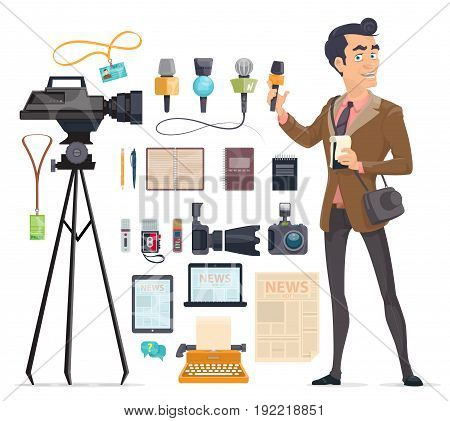 Journalism elements set with reporter cameras microphones devices newspaper pen pencil typewriter recorder certificate notepad isolated vector illustration