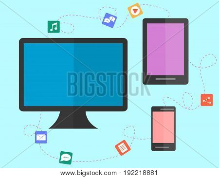 data sharing and transfer concept between devices. flat design. Vector illustration