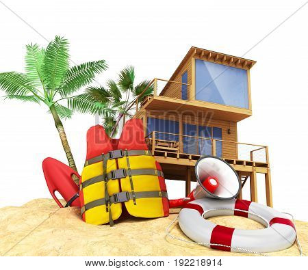 Secure Beach Concept Life Jacket Life Ring And A Horn And Other Objects On The Sand 3Render On White
