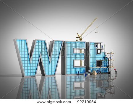 Web Development Concept Builders Are Working On The Inscription Web 3D Illustration On Grey