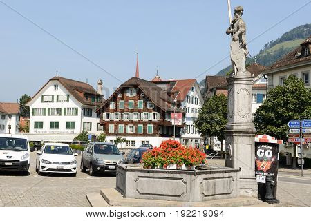 Central Square Of Stans On Switzerland