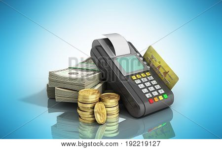 Card Terminal On Stacks Of Dollar Bills With A Bank Card Inside 3D Illustration On Blue Glossy Backg