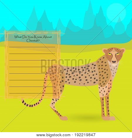 African Cheetah Against Symplistic Nature Background and Poster with Space for Interesting Facts about this Animal. Educational Card for Childrens Schooling. Vector EPS 10