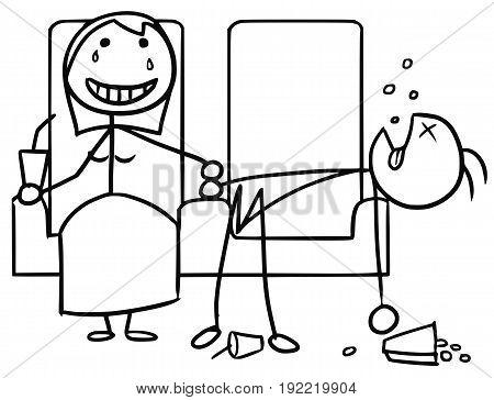 Cartoon vector doodle stickman couple on date in cinema girl happyboy sleeping bored