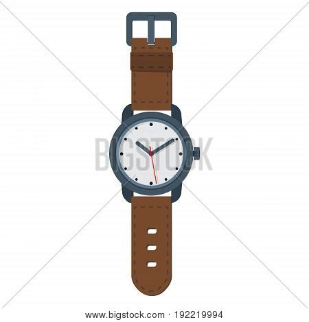 Flat style vector illustration of classic men's hand with brown leather bracelet isolated on white.