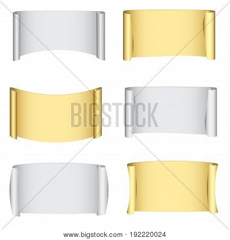 Set gold and silver banners for design