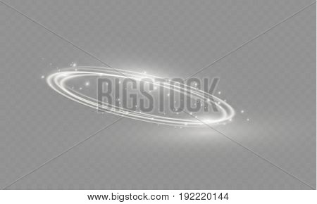 Circular lens flare transparent light effect. Abstract cross ellipse. Rotational glow line. Power energy. Glowing ring trace background. Round shiny frame. Vector circle. Magic sparkling swirl trail