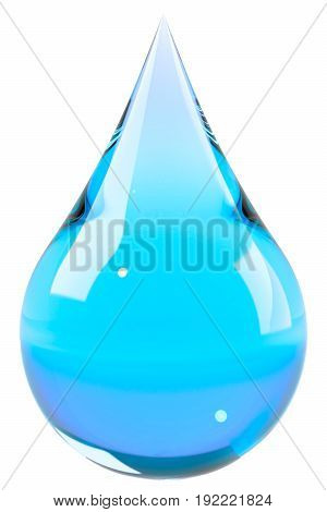 Water drop isolated on white. Blue liquid drop. Save water, ecology, drink water concept. Graphic design element for poster, flyer, water bottle packaging. 3D illustration