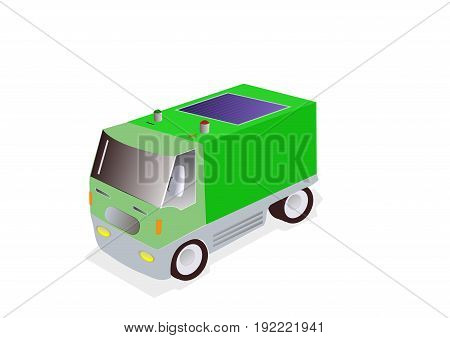 illustration of green electric truck on white background