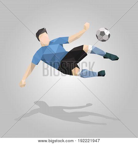 geometric soccer player overhead kick on gray background