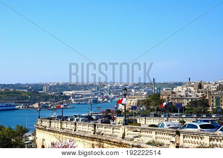 VALLETTA, MALTA - MARCH 30, 2017 - Elevated view of Senglia Kordin and Grand Harbour Valletta Malta Europe, March 30, 2017.