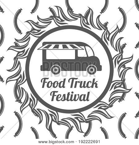 Food truck festival banner on sausage seamless pattern. Vector illustration
