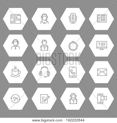 Support or contact centre line icons collection. Contact help sign, vector illustration
