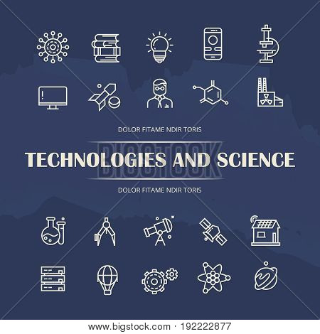Technologies and science line icons set on grunge background. Collection of science line art icons. Vector illustration