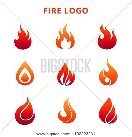 Colorful flame of fire for logo badge or label isolated on white background. Vector illustration