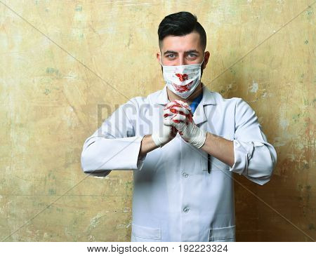 Doctor With Smiling Eyes And Stylish Haircut Surgical Mask