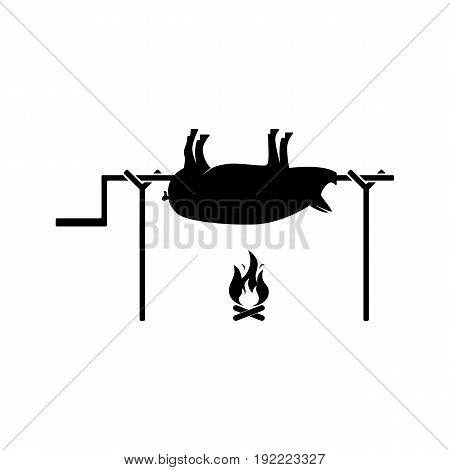 Grilled pig icon. Vector illustration of roasted piglet on white
