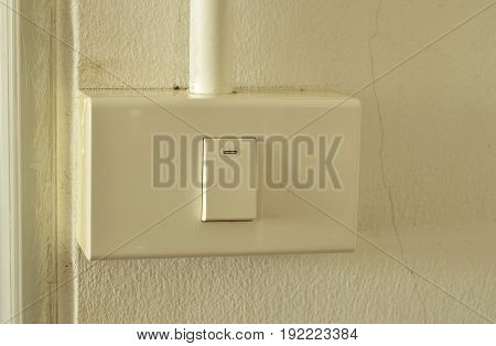 toggle switch in plastic box on the wall