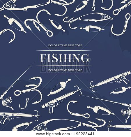 Fishing poster with hook, fishing rod and gun and fish. Vector illustration