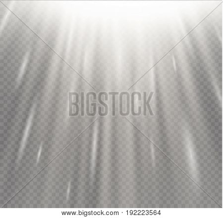 Light flare special effect with rays of light and magic sparkles. Vector illustration