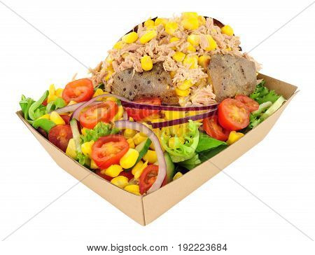 Tuna fish and sweetcorn filled baked potato with fresh salad in a cardboard take away tray isolated on a white background