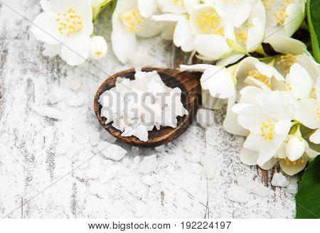 Massage Salt And Jasmine Flowers