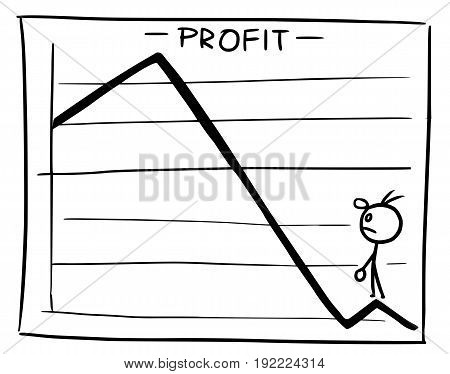 Cartoon vector doodle little stickman man standing inside theprofit graph and looking from low areas back up to high areas