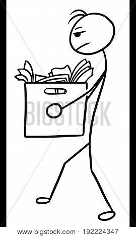 Cartoon vector doodle stickman man carrying large box with office paper