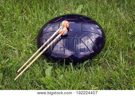 Steel Tongue Drum And Drumsticks On The Green  Grass