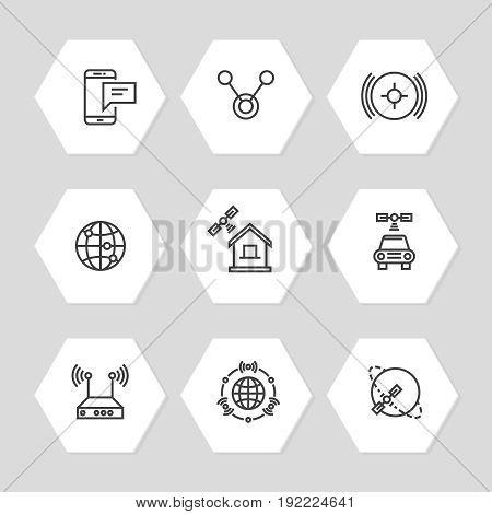 Media and communication ways icons line art style. Communication concept icons set illustration vector