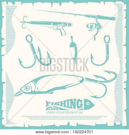 Poster with fishing accesories and equipment hook for sport fishing. Vector illustration