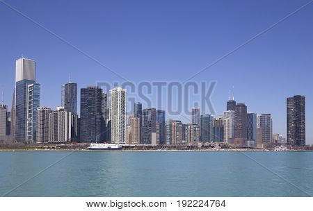 Skyline of Chicago with reflection on the water