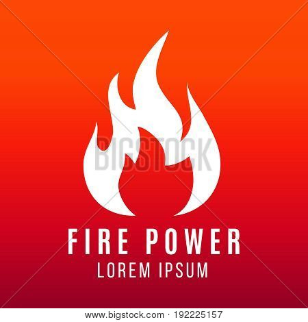 White flame of fire logo design on bright background. Fire power vector illustration