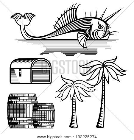Angry fish, treasure chest, barrels and palm tree isolated on white - objects for coloring. Vector illustration
