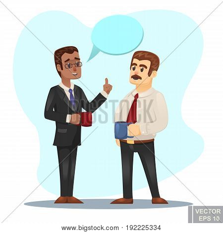 Vector Cartoon Illustration Of Two Businessmen Discussing Business Strategy Conversation Between Cow