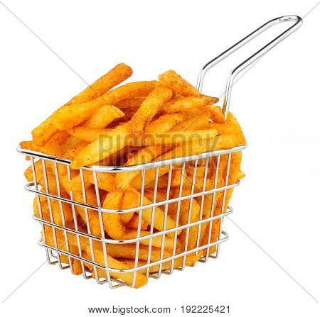 French fries in a small wire frying basket isolated on a white background