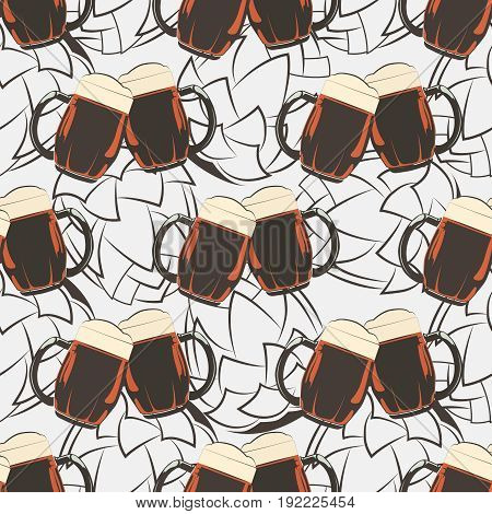 Beer seamless pattern with beer mugs and hops silhouetes. Alcohol drink mug background. Vector illustration