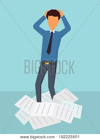 Paperwork at office. Businessman having a lot of work. Vector illustration