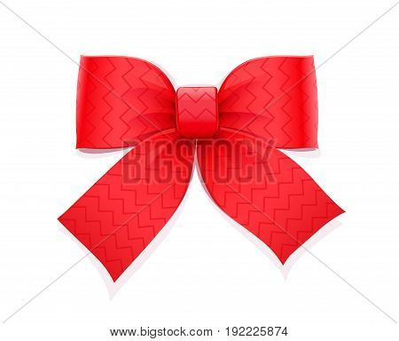 Red bow. Decorative element for gift. Isolated white background. Vector illustration.